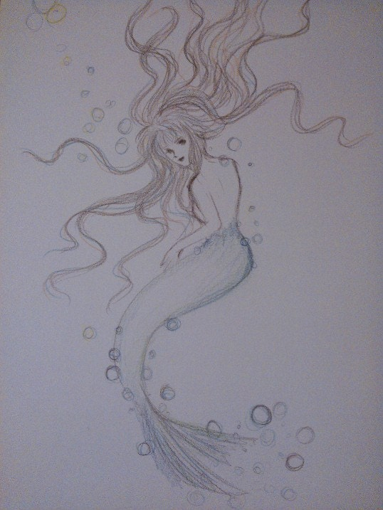 Japanese Anime Manga Style Color Pencil Drawing Mermaid