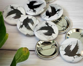 Watercolour Raven Pin Button Badge Game of Thrones Woodland Inspired