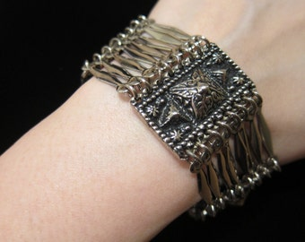 Vintage Taxco Mexico Sterling Silver Repousse Panel Aztec Pyramids Linked Bracelet - Mayan Aztec Design Hidden Slide Clasp 8 Inches Long