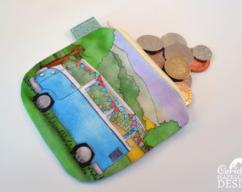 Campervan Coin Purse, Handmade Purse, Zip Bag, Make-up Bag, Stocking Filler, Campervan Gift