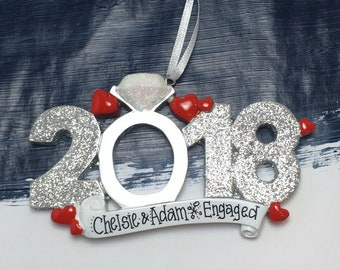 Engagement Personalized Christmas Ornament / 2018 Engagement Ornament / Personalized Ornament / 2018 Engaged Ornament