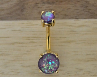 Purple Simulated Opal Round Shape Double Prong Set Gold Plated Belly Button Ring Navel Body Piercing Jewelry