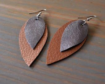 Bronze and Silver Layered Teardrop Scrap Vegan Leather Earrings