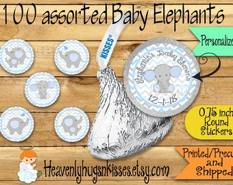 100 Chocolate kiss stickers Elephant baby boy shower stickers Elephant Chocolate Stickers Baby Elephant Kisses Labels Thank you Party Favors