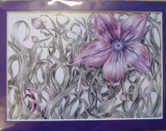 "5x7"" Purple Flower Print (Pancreatic Cancer)"