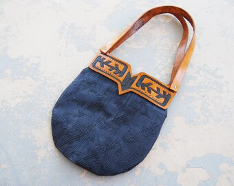 Tooled Leather Purse - Navajo Inspired Geometric Shoulder Bag In Navy Blue