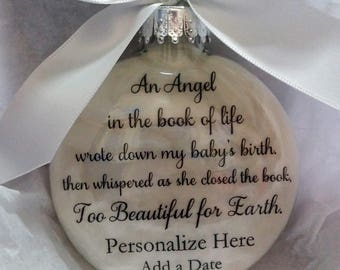 Personalized Loss of Baby Memorial Christmas Ornament - Too Beautiful for Earth - Sympathy In Memory Infant Gift Bereavement Keepsake Bauble