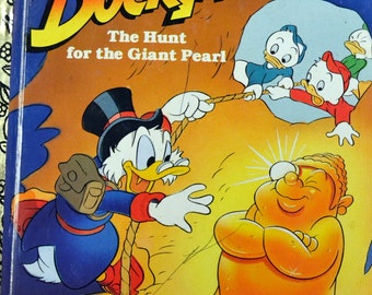 "Vintage Children's Book Duck Tales ""The Hunt for the Giant Pearl"" Little Golden Book Last Minute Gift"