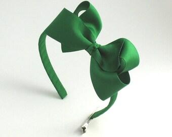 Girls Christmas Bow Headband, Emerald Green Bow on Hard Headband, Big Girl Headband, Girls Hair Accessories