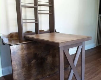 """New """"American Walnut"""" Edition Murphy Style Arts & Crafts Hobbyists' Work Station Farmhouse Handcrafted Solid Eastern White Pine Made in USA"""
