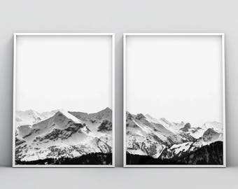 2 Piece Snow Mountain Print, Black and White Photography, Modern Minimalist Scandinavian, Nordic Decor, Large Poster Art, Printable Download