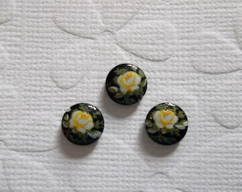 Vintage Cameos - Yellow Rose on Black Cameo -  8mm Round Glass Cabochons - Qty 6