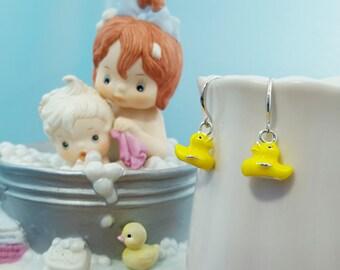 Rubber Duck Baby Shower Gift, Rubber Ducky, Bath Gift, New Mom Gift, Rubber Duck Earrings, Yellow Bird Earrings, Yellow Duck, Hot Tub, E5332