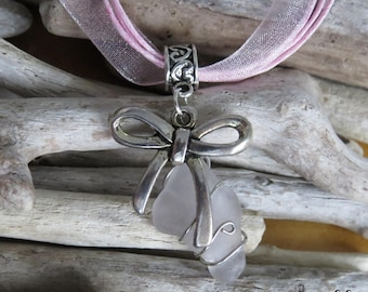 White frosted glass and Silver Bow charm necklace