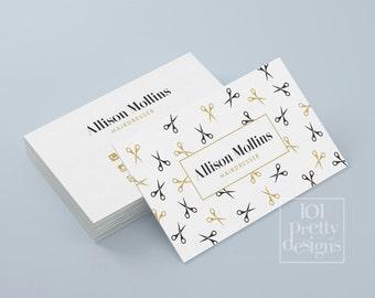 Hairdresser business card design, golden business card template printable business card design scissors business card black gold pattern