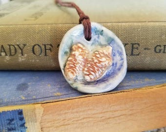 Ceramic Essential Oil Diffuser Pressed Pinecone Necklace, Handmade Porcelain Aromatherapy Jewelry, Adjustable Blue Coffee