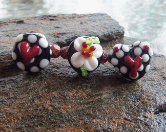 Handmade Lampwork Glass Bead Button Set - Jewelry Supplies - Silverfish Designs
