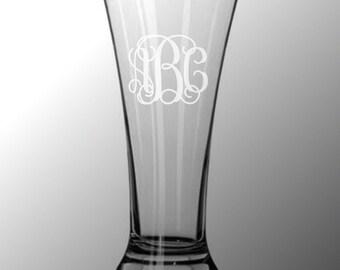7 Personalized Pilsner Flare Pub Beer Glasses Custom Engraved Vine Monogram
