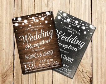 Wedding Reception Invitation, Rustic Wedding Reception Invitation, Chalkboard Wedding Reception  Invitation, Wooden