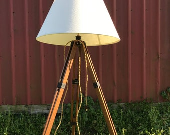 Vintage Tripod Lamp, Wood Tripod Floor Lamp, Rustic Floor Lamp, Beach Floor Lamp, Coastal Decor Beach, Wooden Tripod, Adjustable Floor Lamp