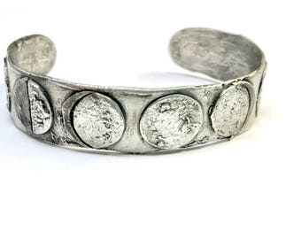 Celestial jewelry Moon Bracelet handmade Silver cuff moon phases waxing waning rustic unique jewlery nature anniversary gift eclipse