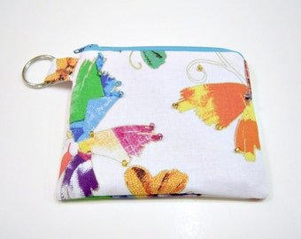 Beaded Butterfly Zippered Pouch or Wallet