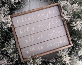 Farmhouse inspired silent night holy night gray shiplap framed sign