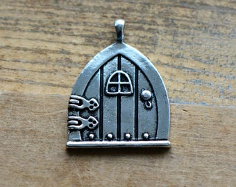 1 - Cottage Door Charm - Silver Toned Brass - Hobbit LOTR Layering Charms Minimal Jewelry & Hobbit door charm   Etsy