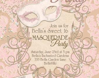 Masquerade Party Invitation, Masquerade Invitation, Mardi Gras Party, Party Invitations