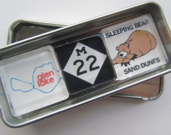 GLEN LAKE, Up North Michigan, Leelanau, Sleeping Bear, Glen Arbor, Leland, M22, Michigan, Fridge Magnets, Refrigerator Magnets, Michigan