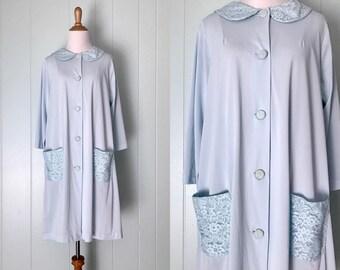 1960s Shadowline Light Pale Blue Robe   60s Lace Trimmed House Coat   Vintage Button Down Patch Pocket Lingerie   Ladies Clothing L XL Large