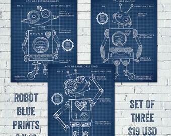 Robot Blueprints, Robot Patent, Robot Printable, Toy Robot blueprints, Encouragement quote printables, Robot Room, Robin Davis Studio