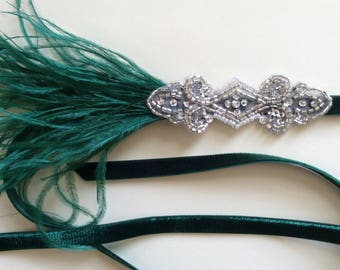 GREEN 1920s Headband, Hunter green feathers headband, silver great Gatsby headpiece, dark green fascinator, custom flapper dress headband,