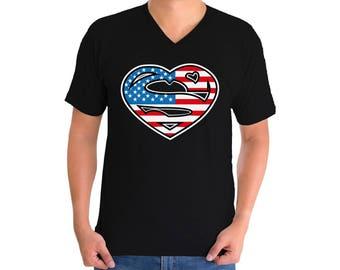 USA Heart Flag V-neck T shirts USA Men's Shirts Tops Fourth of July shirt USA Flag 4th of July shirt Heart