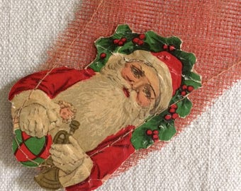 Victorian Net Christmas Stocking with Santa