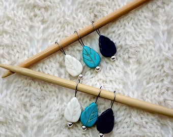 knitting stitch markers - snag free - turquoise white cobalt semi precious stones - 13mm leaves - set of 6 - three loop sizes available
