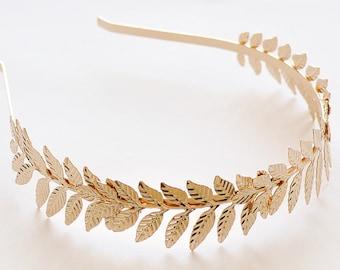 Gold Leaf Headband Hair Accessories - Bridal headband, Gold Leaf Crown, Wedding Headpiece, Greek Crown,  Leaves Headband, Grecian Crown