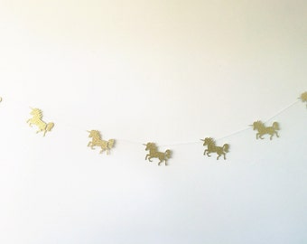 Paper unicorn garland (glitter and custom colours available)