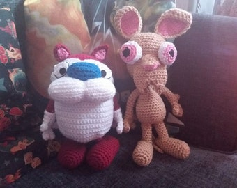ren and stimpy crochet plushies quirky unusual gift idea
