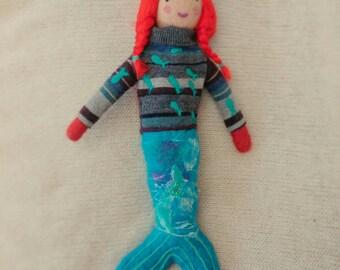 Fox Mermaid Needle Felted Felt Doll Sculpture OOAK Fantastical Creature Selkie