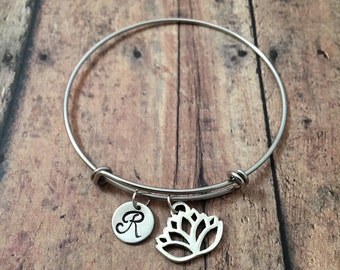 Lotus flower initial bangle- lotus flower jewelry, nature jewelry, sacred lotus bracelet, lotus flower initial bracelet, zen jewelry