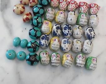 Hand Painted Owl and Colorful Pottery Beads