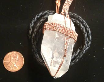 Steampunk quartz point in copper