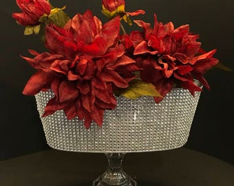 Clear Rhinestone Covered Tin Candy Holder/Center Piece