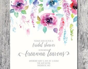 Custom bridal shower invitation watercolor garden party floral DIGITAL FILE