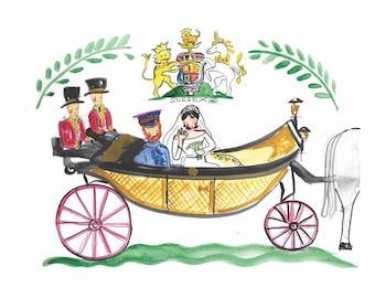 Royal Wedding Prints, Harry and Meghan, Royal Carriage, Royal Standard, Royal Wave, Illustration, Watercolor