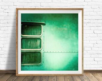 """vintage camper, retro camper, aqua, square wall art, instant download printable art, large art, large wall art, wall art print, art - """"1974"""""""