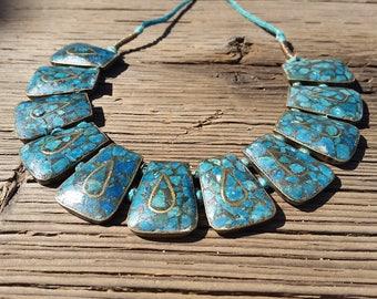 Bib Collar Necklace w/Inlay Brass & Turquoise