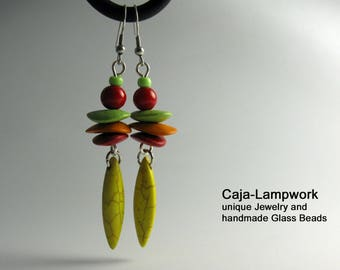 Colorful earrings, ceramic chips