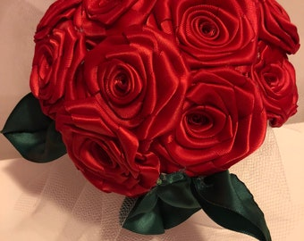 Red Ribbon Rose Bouquet